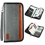 Reisepass Tasche, WisFox Tragbar Reisepass Inhabers & Organizer Wallet mit RFID-Sperrdokument für Pässe, Ausweise, Kreditkarten, Flugtickets Reisezubehör für Männer Frauen (Grau)