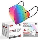 KKmier FFP2 Maske Einweg-Atemschutzmasken CE Zertifikat 5-lagige Mundschutzmasken Mehrfarbig Einzel Verpakt 40 Stück