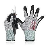DEX FIT Level 5 Schnittschutzhandschuhe Cru553, 3D-Comfort Stretch Fit, Power Grip, Langlebiger Nitrilschaum, Pass FDA-Lebensmittelkontakt, Smart Touch, Dünn & Leicht, Grau Mittel 1 Paar