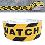 Gebildet Premium Qualität Antirutsch Klebeband, Antislip selbstklebend Band mit'Watch Your Step', Grip Tape Sicherheitsband fur Treppen/Schritte (10m × 5cm, Schwarz und Gelb)